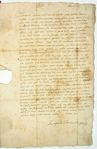 Giorgio Biandrata - John Calvin letter to the Calvinist congress in Vilnius, including condemnation of Giorgio Blandrata's anti-trinitarian views, 9 October 1561, Geneva