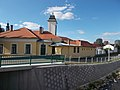 Listed Fire Station from Knézich Street Bridge to N in Eger, 2016 Hungary.jpg