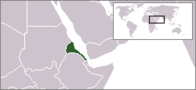 A map showing the location of Eritrea