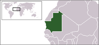 A map showing the location of Mauritania