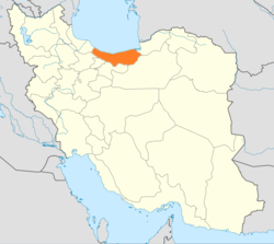 Map of Iran with Mâzandarân highlighted