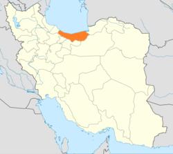 Map of Iran with Mâzandarân highlighted