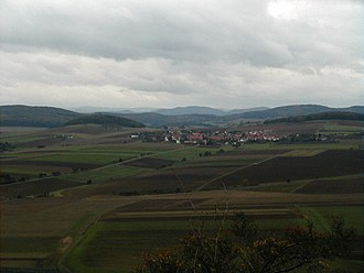 Wartberg culture - Fritzlar Plain and the Hasenberg (left) seen from the Wartberg