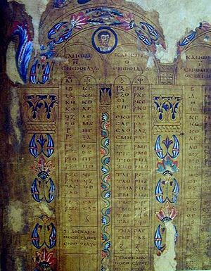 Gospel harmony - A 6–7th-century use of the Eusebian Canons to organize the contents of the gospels in the London Canon Tables.