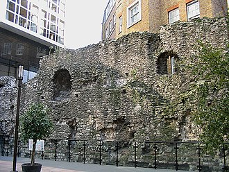 London Wall - A surviving fragment of the original 3rd-century Roman  Wall in Cooper's Row near Tower Hill tube station.