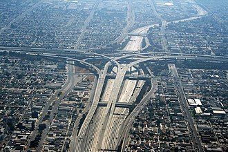 The Judge Harry Pregerson Interchange, connecting the Century Freeway (I-105) and the Harbor Freeway (I-110) Los Angeles - Echangeur autoroute 110 105.JPG
