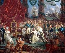 Le roi relève une femme dénudée symbolisant la France.