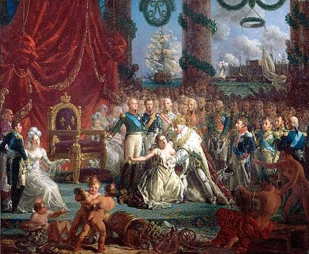 Allegory of the Return of the Bourbons on 24 April 1814: Louis XVIII Lifting France from Its Ruins by Louis-Philippe Crepin Louis XVIII relevant la France.jpg