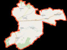 """Mapa konturowa gminy Lubrza, na dole znajduje się punkt z opisem """"Przejście graniczneKrzyżkowice-Hlinka"""""""