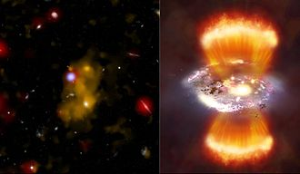 Lyman-alpha blob - The giant Lyman-alpha blob LAB-1 (left) and an artist's impression of what it might look like if viewed from relatively close (right).