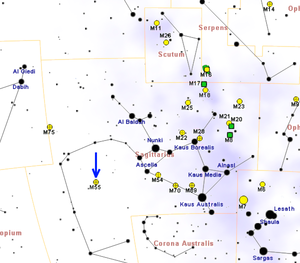 Messier 55 - Map showing the location of M55