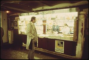 New York Lottery - Magazine stand selling New York Lottery tickets in 1974.