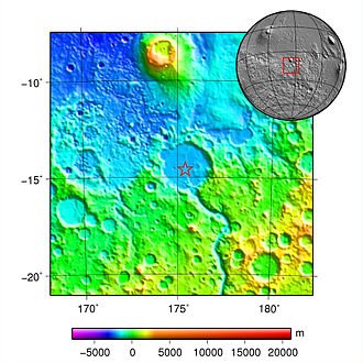 Spirit (rover) - An overall view of MER-A Spirit landing site (denoted with a star)