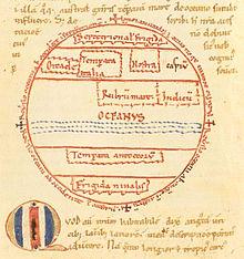 Schizzo di una mappa da una copia del XII secolo del commentario di Macrobio al Somnium Scipionis ciceroniano. È raffigurato l'emisfero abitato settentrionale separato dagli antipodi da un oceano che si immaginava si estendesse lungo tutto l'equatore.