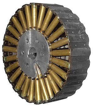 Lewis gun - A pan magazine, as used on a 7.92×57mm Lewis gun, Museum of Coastal Defence, Poland. note the magazine is only partially filled