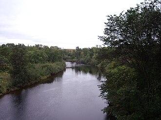 Magnetawan River - Magnetawan River as seen looking downstream from the Highway 11 bridge at Burk's Falls.
