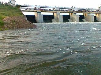 Chembarambakkam Lake - Image: Main 5 lock view of chembarambakkam tank