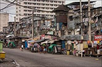 Street children in the Philippines - A slum in Manila.