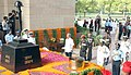 Manohar Parrikar accompanied by the Chief of Army Staff, General Dalbir Singh, the Chief of the Air Staff, Air Chief Marshal Arup Raha and the VCNS Vice Admiral P. Murugesan laid wreath, at Amar Jawan Jyoti (1).jpg