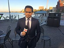 Raju reporting at the Memorial Union Terrace in Madison, Wisconsin