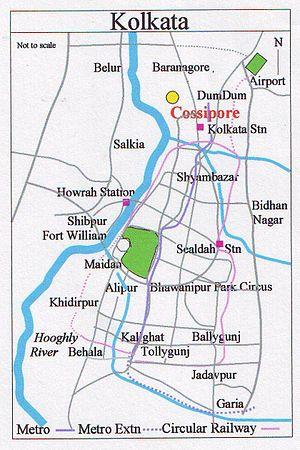Cossipore - Image: Map Kolkata Cossipore