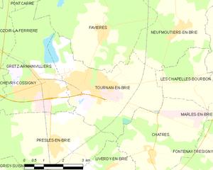 Tournan-en-Brie - Image: Map commune FR insee code 77470