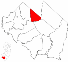 Deerfield Township highlighted in Cumberland County. Inset map: Cumberland County highlighted in the State of New Jersey.