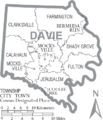 Map of Davie County North Carolina With Municipal and Township Labels.PNG