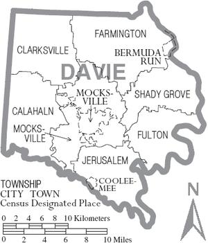 Davie County, North Carolina - Map of Davie County, North Carolina With Municipal and Township Labels