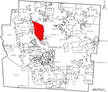 Map of Franklin County Ohio With Upper Arlington Labelled.png