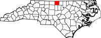 Map of North Carolina highlighting Caswell County