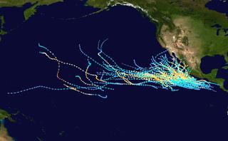 Spuren aller bekannten Pazifik-Hurrikane der Kategorie 3 von 1970 bis 2015 im Nordostpazifik-Becken.
