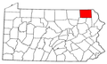 Map of Pennsylvania highlighting Susquehanna County.png