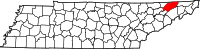Map of Tennessee highlighting Hawkins County