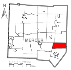 Location of Wolf Creek Township in Mercer County