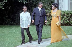 Philippines–United States relations - President Ferdinand Marcos and First Lady Imelda Marcos with Ronald Reagan during a state visit at the White House, 1982
