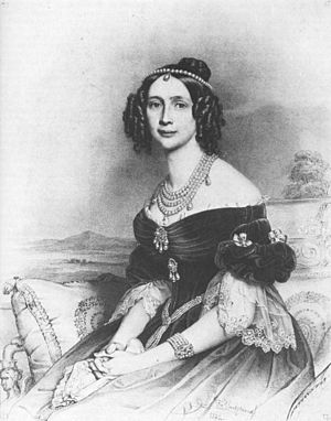 Maria Anna of Bavaria (1805–1877) - Queen Maria Anna of Saxony, lithograph by Franz Hanfstaengl after a painting by Stieler, 1842