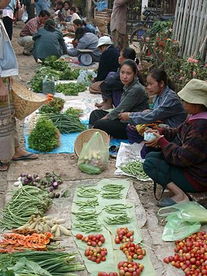 Agriculture in Laos - A market in Luang Prabang.