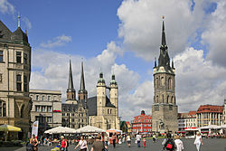 Market Place with the Red Tower (right) and the Marktkirche Unser Lieben Frauen