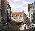 Marktplatz Hannover. Seitlich beschnittene farbige Lithographie von Rudolph Wiegmann 1834.jpg