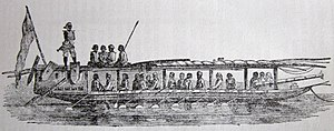 Iranun people - An 1848 illustration of an Illanun war-boat; a lantaka can be seen of the prow.