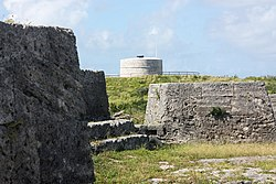 Martello Tower seen from Ferry Island Fort, Ferry Reach, Bermuda 2011