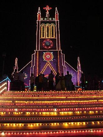 Marthandam - Light Decorations During Christmas