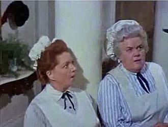 Hermione Baddeley - Hermione Baddeley (left) and Reta Shaw in the film Mary Poppins (1964)