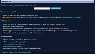 Web 2.0 - A list of ways that people can volunteer to improve Mass Effect Wiki, an example of content generated by users working collaboratively.