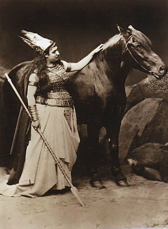 Amalie Materna, the first Bayreuth Brunnhilde, with Cocotte, the horse donated by King Ludwig to play her horse Grane Maternagrane.jpg