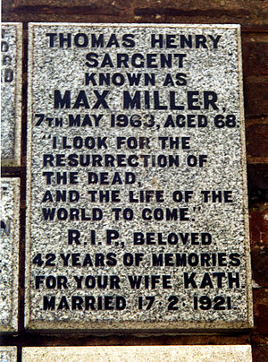 Max Miller (comedian) - Tablet on wall of Garden of Remembrance, Downs Crematorium, Brighton