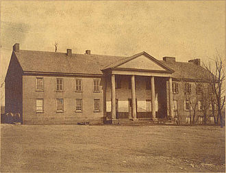 Washington & Jefferson College - Washington Academy's sole building (now called McMillan Hall), showing the original central portion and the two wings added in 1818.