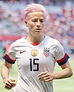 U.S. player Megan Rapinoe jogging towards the camera