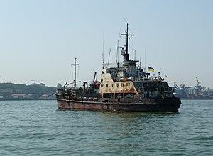 English: Mekhanik Cherny bulk cargo ship (moto...
